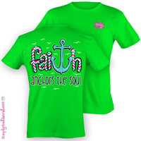 Simply Southern Funny Faith Anchor Chevron Sweet Girlie Bright T Shirt