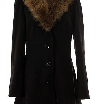 Fur Collar Wool Blend Coat - LAST ONE