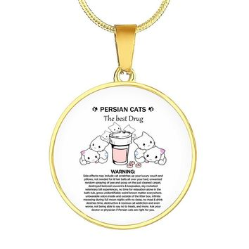PREMIUM CUSTOM DESIGNED & ENGRAVED GOLD NECKLACE - PERSIAN CATS THERAPY - PERSIAN CAT FAN GIFT FOR CAT MOMS + SURPRISE BONUS