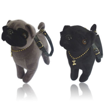 Pug Dog Bag Black Grey Clutch Purse Shoulder Handbag Furry Plush Toy Doggie NEW
