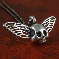 "Winged Skull Necklace Gothic Antique Silver Winged Skull Pendant on 18"" Gunmetal Chain"