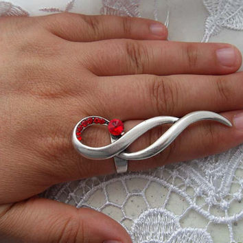 Wavy red crystals Ring by essu on Etsy