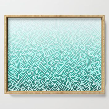 Faded teal blue and white swirls doodles Serving Tray by savousepate