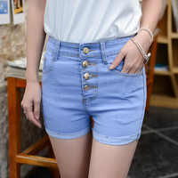 Hot 2016 New Summer Women High waist denim Shorts jeans ladies Slim bottoms Female casual Bule Short pants Plus Size 25-34