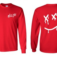"""Louis Tomlinson """"Miss You / Dripping Smiley Face Logo"""" Long Sleeve Shirt"""