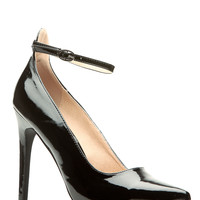 Black Faux Patent Leather Ankle Strap Pointy Heels