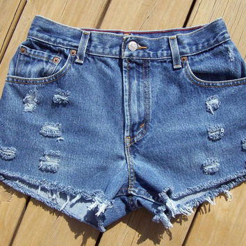 High Waisted Levi's Distressed Shorts Size 6 by DenimAndStuds