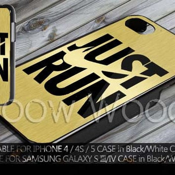 gold nike just run logo design for iPhone 4/4s, iPhone 5, 5c, 5s, Samsung Galaxy S3, Galaxy S4 Case
