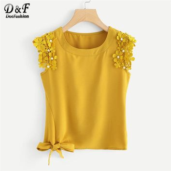 Dotfashion Knot Side Pearl Beaded Detail Top Summer Round Neck Elegant Tank Women Ginger Plain Contrast Lace Tank Top