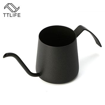 TTLIFE 250ML Creative Fine Mouth Hand Punch Coffee Pot 304 Stainless Steel Household Drip Brew Long Mouth Fine Pot Teapot