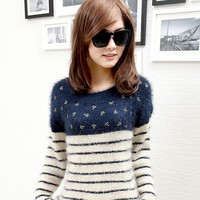 Stripe navy wind anchor sweater