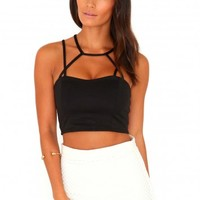 Missguided - Meryl Ponte Strappy Crop Top In Black