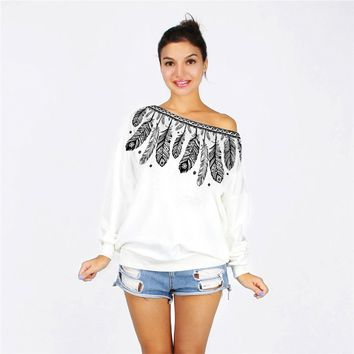 Bohemian Feathers Oversized Off the Shoulder Sweater Shirt