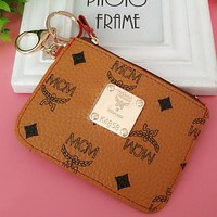 "Hot Sale ""MCM"" Fashion Creative Leather Card Pack Card Bag Card Zipper Mini Thin Card Package Zero Wallet Brown I12551-1"