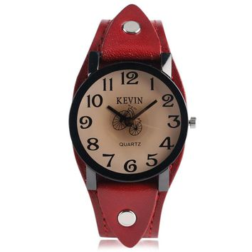 Women Watches Red Bracelet Watch Ladies Trendy Simple Sport Punk Wristwatch Bicycle Face Leather Band Round Dial Birthday Gifts