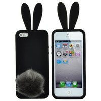 Iphone 5s Case, WYECLK Bunny Rabbit Tail Cute Soft Case Cover Protector Skin Black for iPhone 5 5s