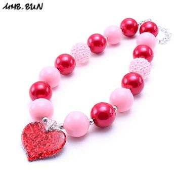 MHS.SUN 2PCS Love Heart Kid Chunky Bubblegum Necklace Pink+Red Color Girl Children Chunky Bead Necklace Jewelry Best Gift To Kid