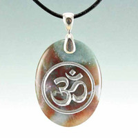 Om or Aum - Engraved Stone Pendant - Indian Agate