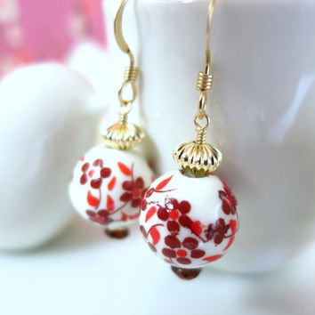 Ceramic red cherry blossom Chinese gold earrings, Valentines Day red cherry blossom earrings, Mothers Day cherry blossom red earrings