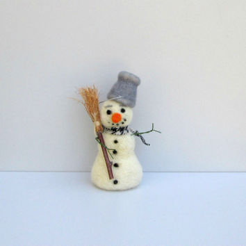 Felted Snowman Cute Winter figurine Christmas decoration Xmas ornament  Felted miniature snowman Hanging ornament Woolen ornament Waldorf