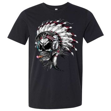 Indian Head Skeleton Chief Asst Colors Mens Fitted Tee