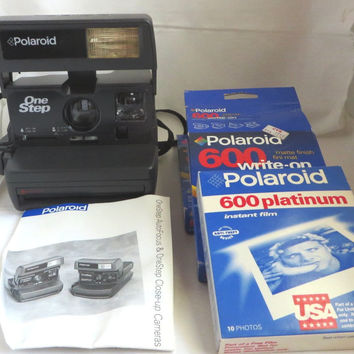 Polaroid One Step Camera, Vintage Auto Focus Close-up Camera Instant Photography, Polaroid Film