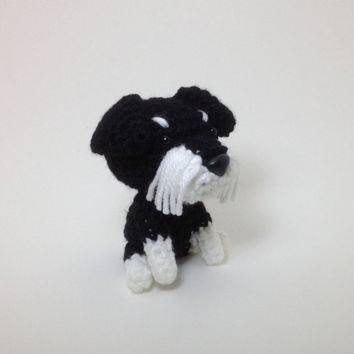 Schnauzer Amigurumi Dog Stuffed Toy Crochet Puppy Plush Doggie Doll / Made to Order