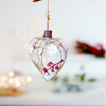 Woodland Glass Hanging Christmas Tree Bauble Decoration