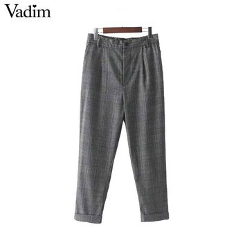 women plaid checkered pants elastic waist basic brief ladies casual work wear autumn pleated trousers