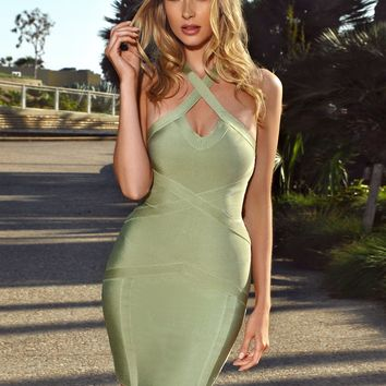 Yasmin Light Olive Criss Cross Halter Top Bandage Dress