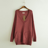 V-Neck Long Sleeve Loose Sweater