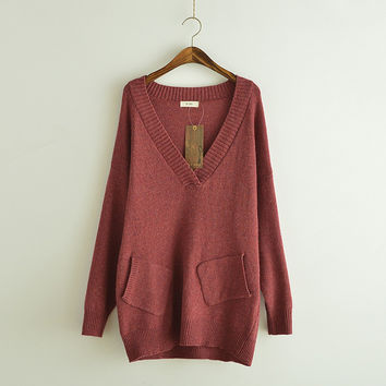 Long section thicker V-neck sweater