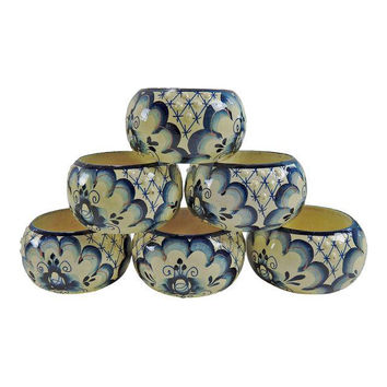 Hand Painted Vintage Wood Napkin Rings  Set of 6