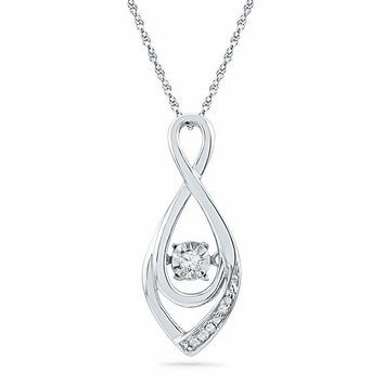 10kt White Gold Women's Round Diamond Moving Twinkle Solitaire Teardrop Pendant 1-20 Cttw - FREE Shipping (US/CAN)