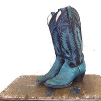 Vtg 80s Soft Leather Green and Black Womens Cowboy boots with heels 5M