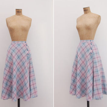 La Violeta Skirt - Vintage 1970s Plaid Skirt - Circle Pastel Plaid Pink Lilac High Waisted Circle Skirt Small S