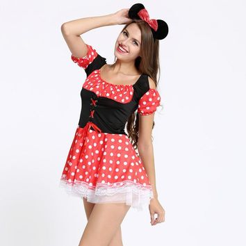Sexy Costumes role play Sexy Christmas Halloween Minnie Mouse Women Xmas Costume Cosplay Dress Up Outfit Ear lingerie intimates