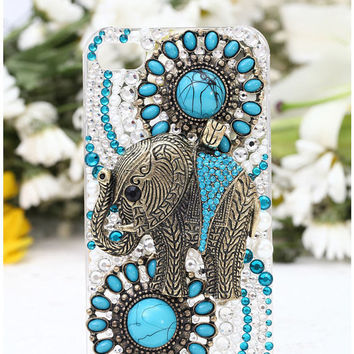 Bling Crystal Bohemian Elephant iphone 5 5s 5c 4 4s Case,ipod 4/5, Samsung Galaxy S5/S3/S4,Note 1/2/3,Mega 6.3,Htc One,Blackberry Q10 Z10
