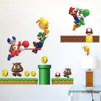 Cartoon Super Mario Bros Wall stickers Boy Room Decoration 621 kids Art Decal Mural Home Decor Kids Nursery Decals Home Decor