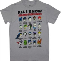 The DC Comics All I Know I Learned From Comics T-Shirt