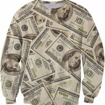 Hundred Dollar Bill Money Collage Sweatshirt