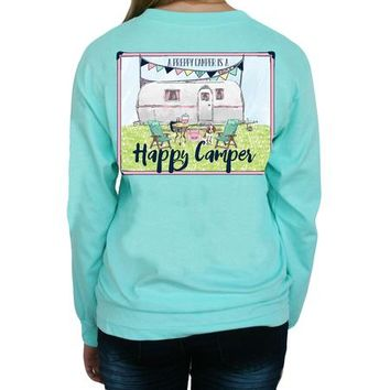 """*Closeout* Southern Girl Prep  """"Happy Camper"""" Long Sleeve T-shirt"""