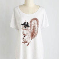 Quirky Mid-length Short Sleeves Take the Squirrel by Storm Top by ModCloth