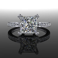 Princess Cut Forever Brilliant Moissanite and Diamond Engagement Ring 1.93 CTW