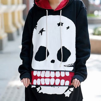Giant Skull Face Retro  Zipper Sweater
