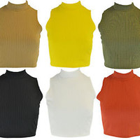 New Womens Plain Ribbed Sleeveless Turtle Neck Ladies T-Shirt Crop Top 8 - 14