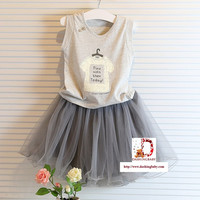 Girls 2 PC Outfit Grey Shirt and Skirt