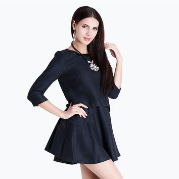 Navy Blue PU Leather Skater Dress with Back Zipper