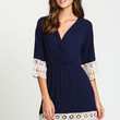 Embroidered Crochet Wrap Dress