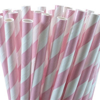 Paper Straws, Pastel Pink, Blush Pink, Striped Straws, Baby Shower, Girl, Party, Wedding, Princess Party, Mason Jar Straw, Holiday, Birthday